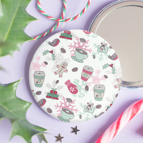 Latte Christmas Pocket Mirror