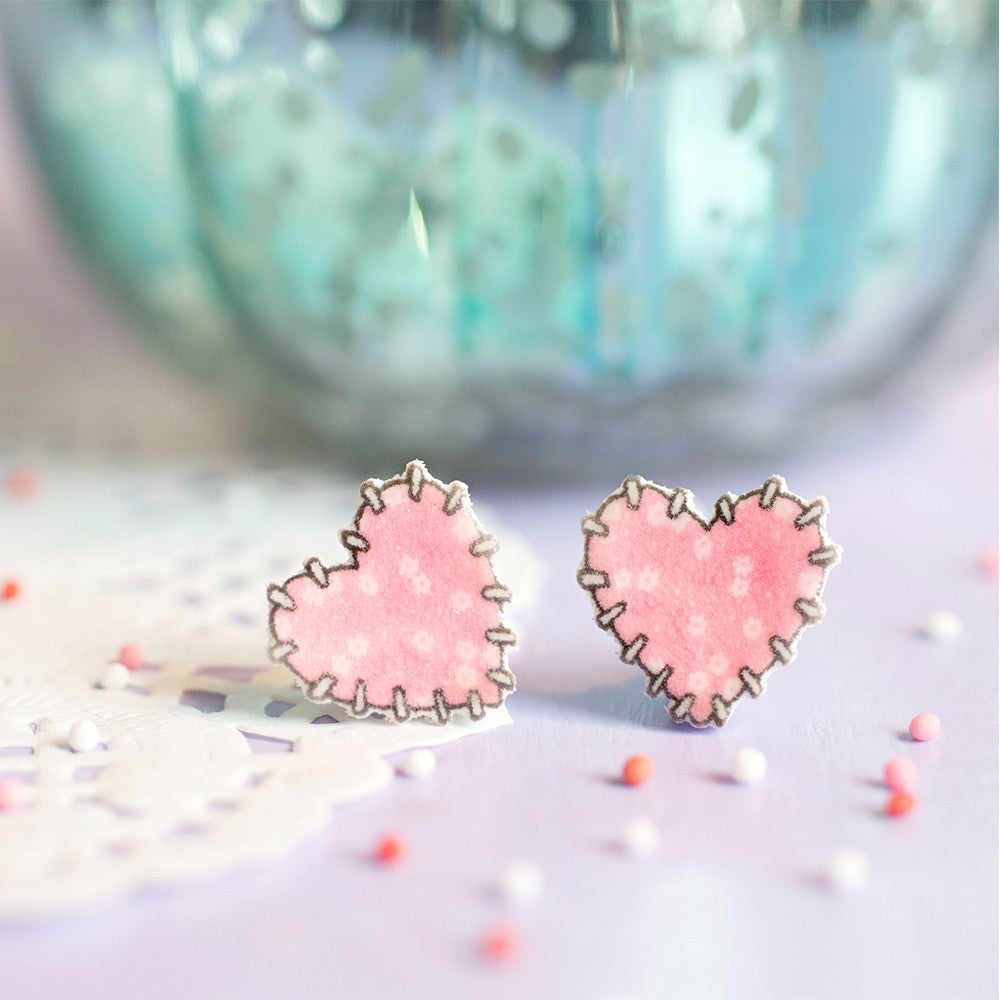 Patchwork Heart Earrings