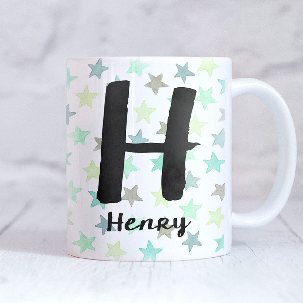 Stars Green Personalised Mug