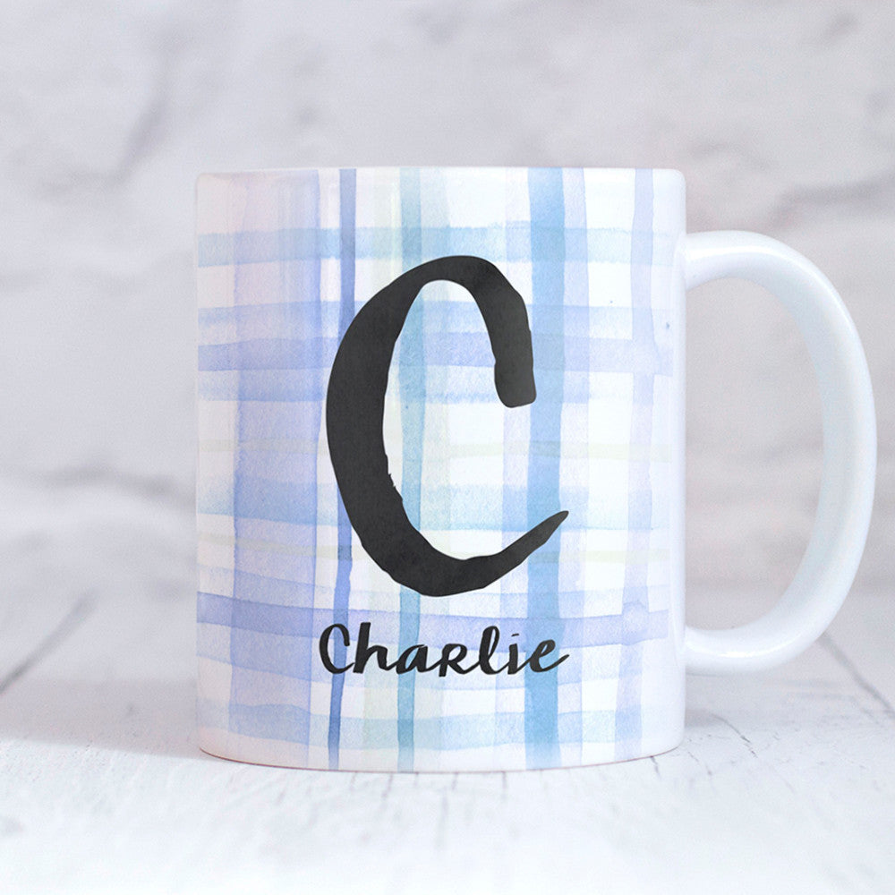 Tartan Blue Personalised Mug