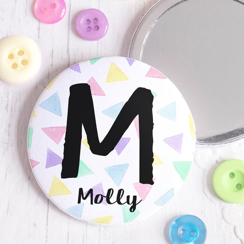 Triangles Personalised Pocket Mirror