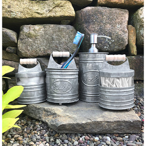4 Piece Galvanized Bathroom Accessory Set