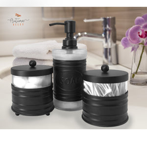 3 Piece Black Bathroom Accessory Set