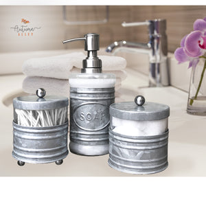 3 Piece Galvanized Bathroom Accessory Set