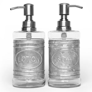 Glass and Galvanized Soap Dispenser Set