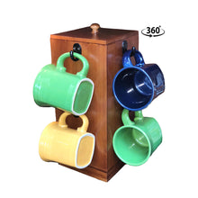 Load image into Gallery viewer, Bamboo Rotating Mug Holder with Storage