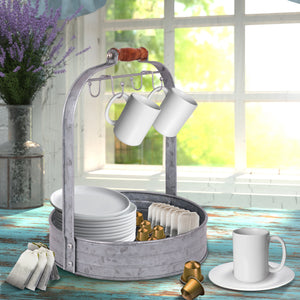 Galvanized Coffee Mug Rack Organizer