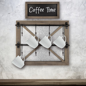 Barn Door Wall Mounted Mug Rack