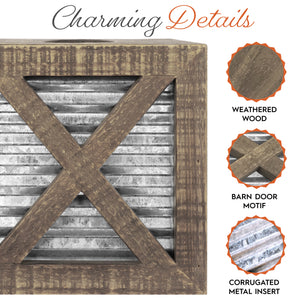 Barn Door Square Tissue Box Cover