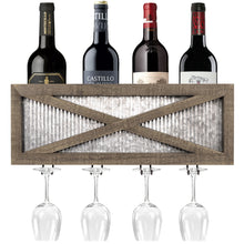 Load image into Gallery viewer, Barn Door Wine Rack with Glass Storage