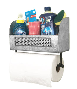 Wall-Mounted Galvanized Paper Towel Holder with Shelf