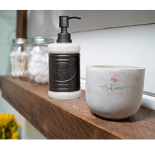 Load image into Gallery viewer, Glass and Black Metal Soap Dispenser
