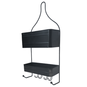 2-Tier Black Hanging Shower Caddy