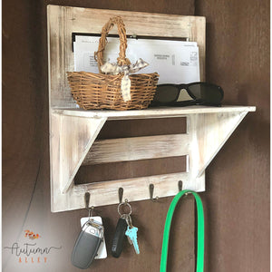 Wooden Wall-Mounted Entry Organizer with Hooks