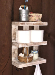 Wooden Wall-Mounted Shelf with Hooks