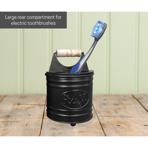 Black Metal Hinged Toothbrush Holder