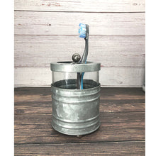 Load image into Gallery viewer, Glass and Galvanized Toothbrush Holder