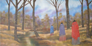 THREE FIGURES WALKING BESIDE A CREEK AT SUNSET.