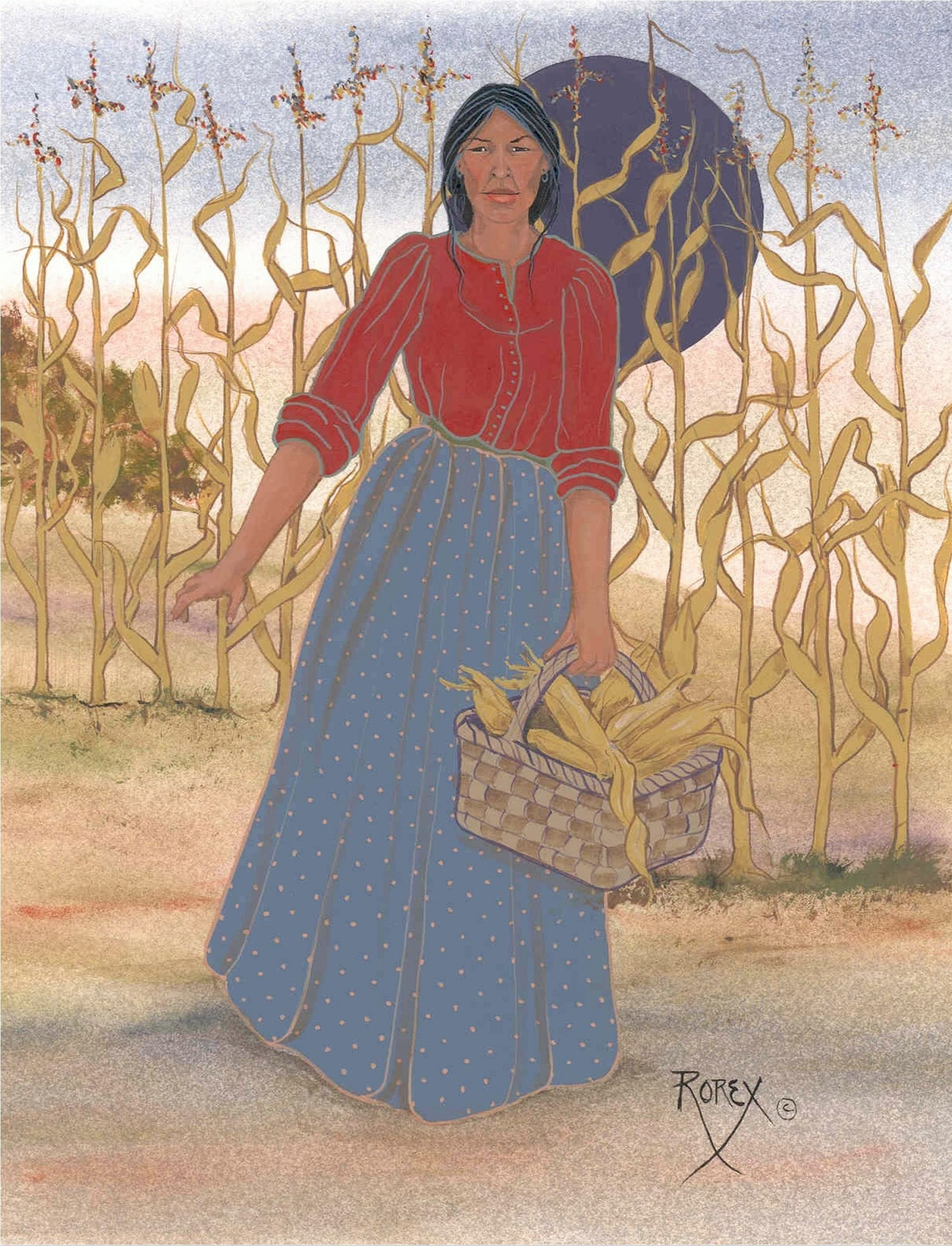 INDIAN WOMAN CARRYING BASKET OF CORN