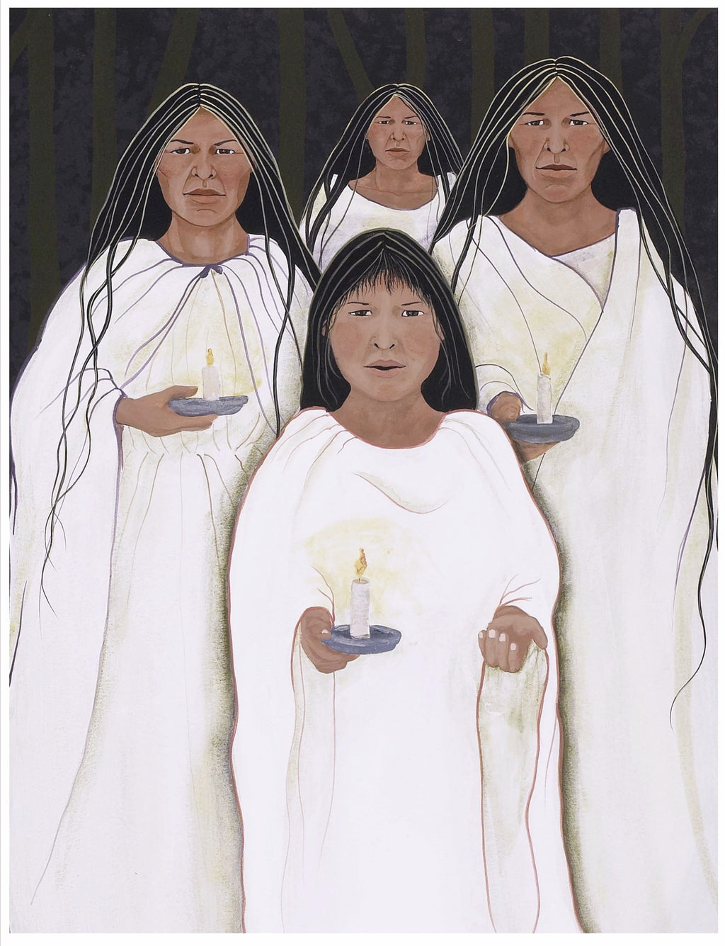 CHOCTAW WOMEN CARRYING CANDLES