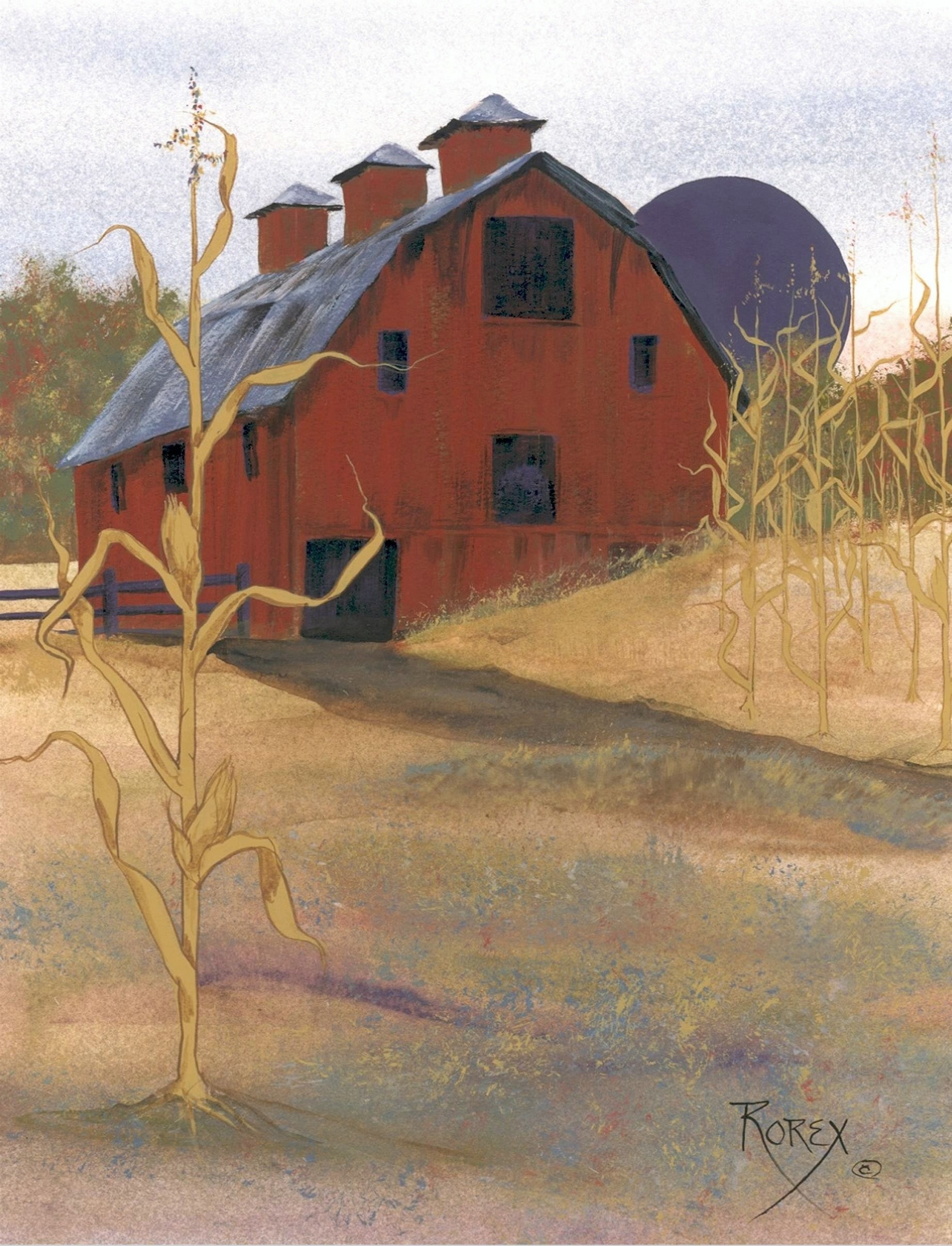 beautiful red barn beside a cornfield - with the single cornstalk in front