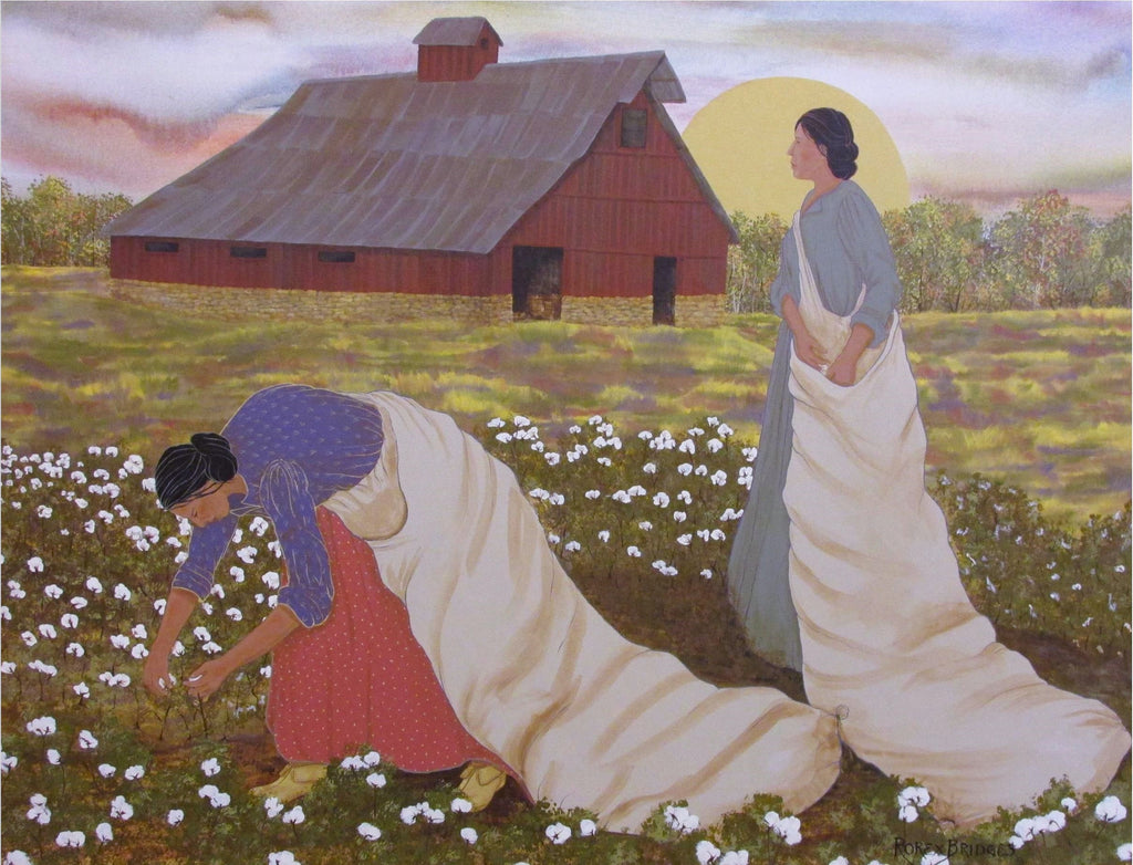 Native women in Indian Territory working their cotton fields