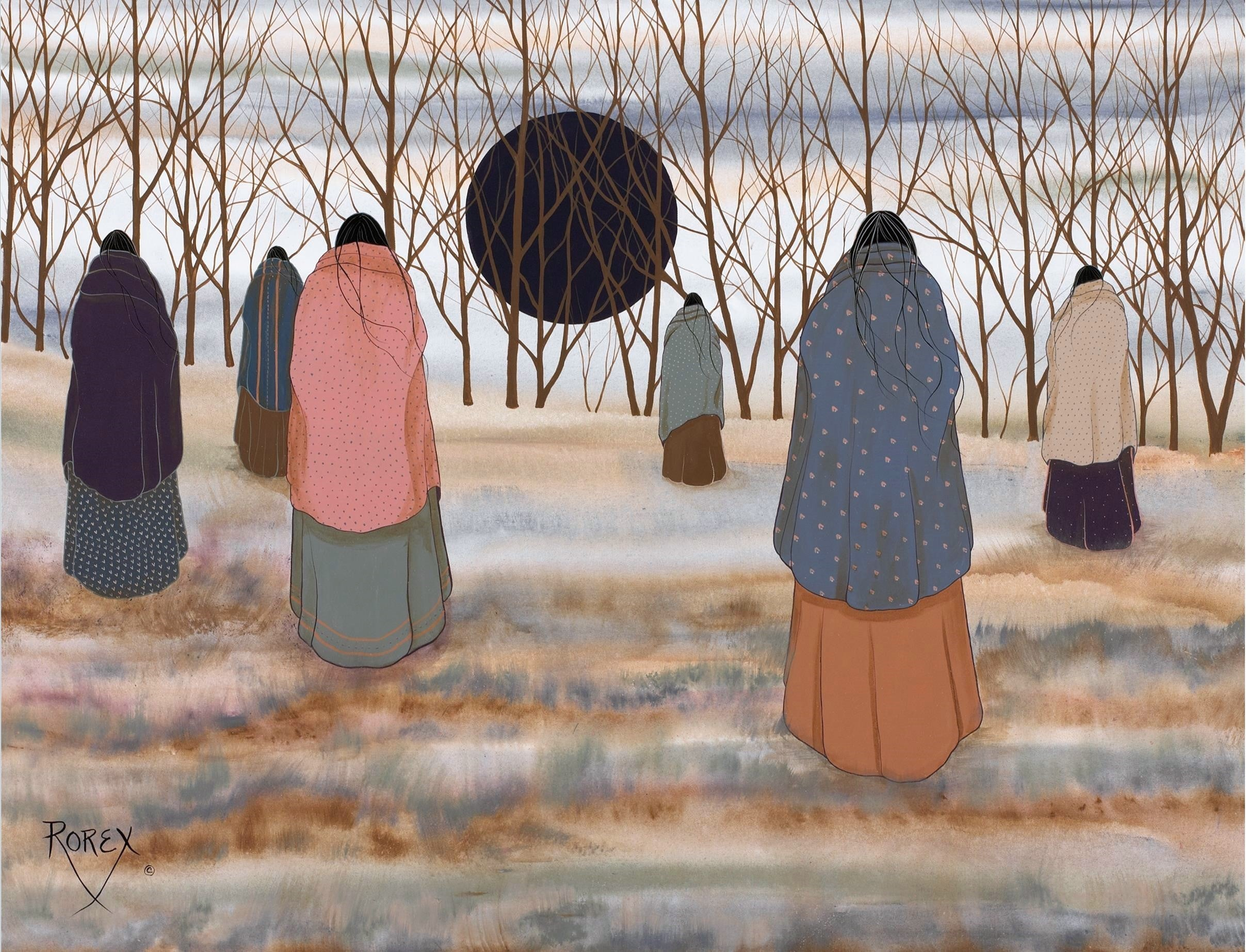 Six tribal women in brightly colored blankets walking toward the woods
