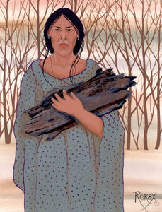 woman -gathering an armload of wood to start the morning fire -