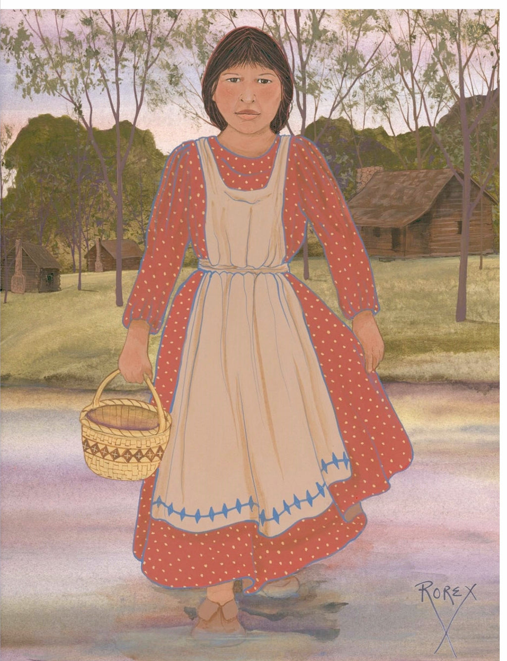 CHOCTAW GIRL CROSSING RIVER