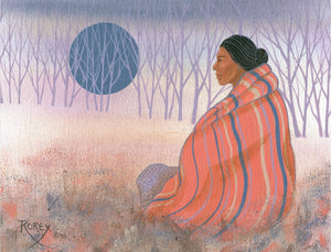 Native woman wrapped in striped pink blanket