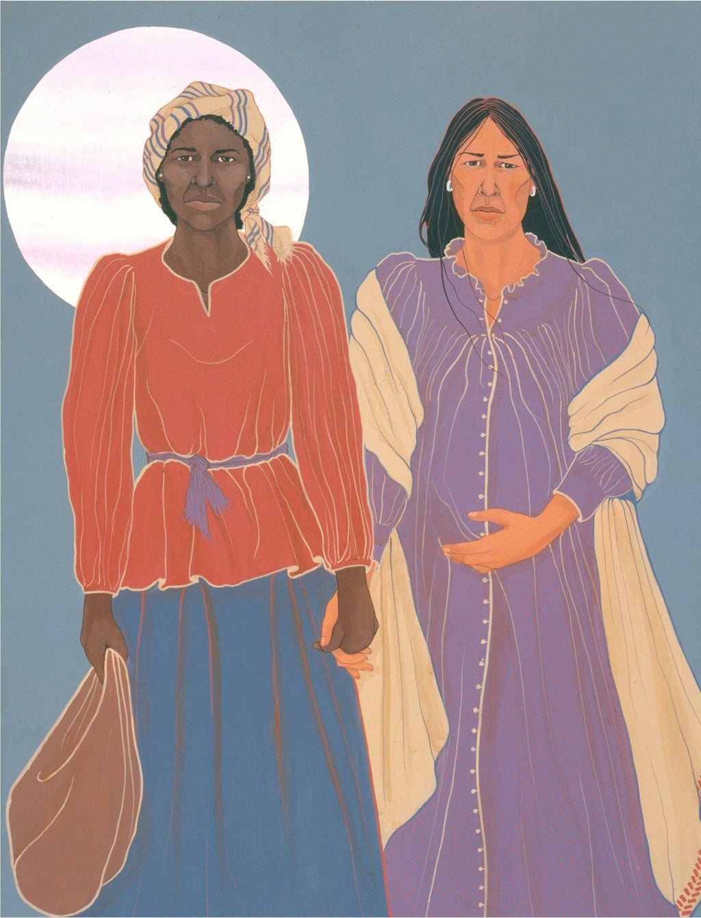 NATIVE AND AFRICAN AMERICAN WOMEN HOLDING HANDS ON TRAIL OF TEARS