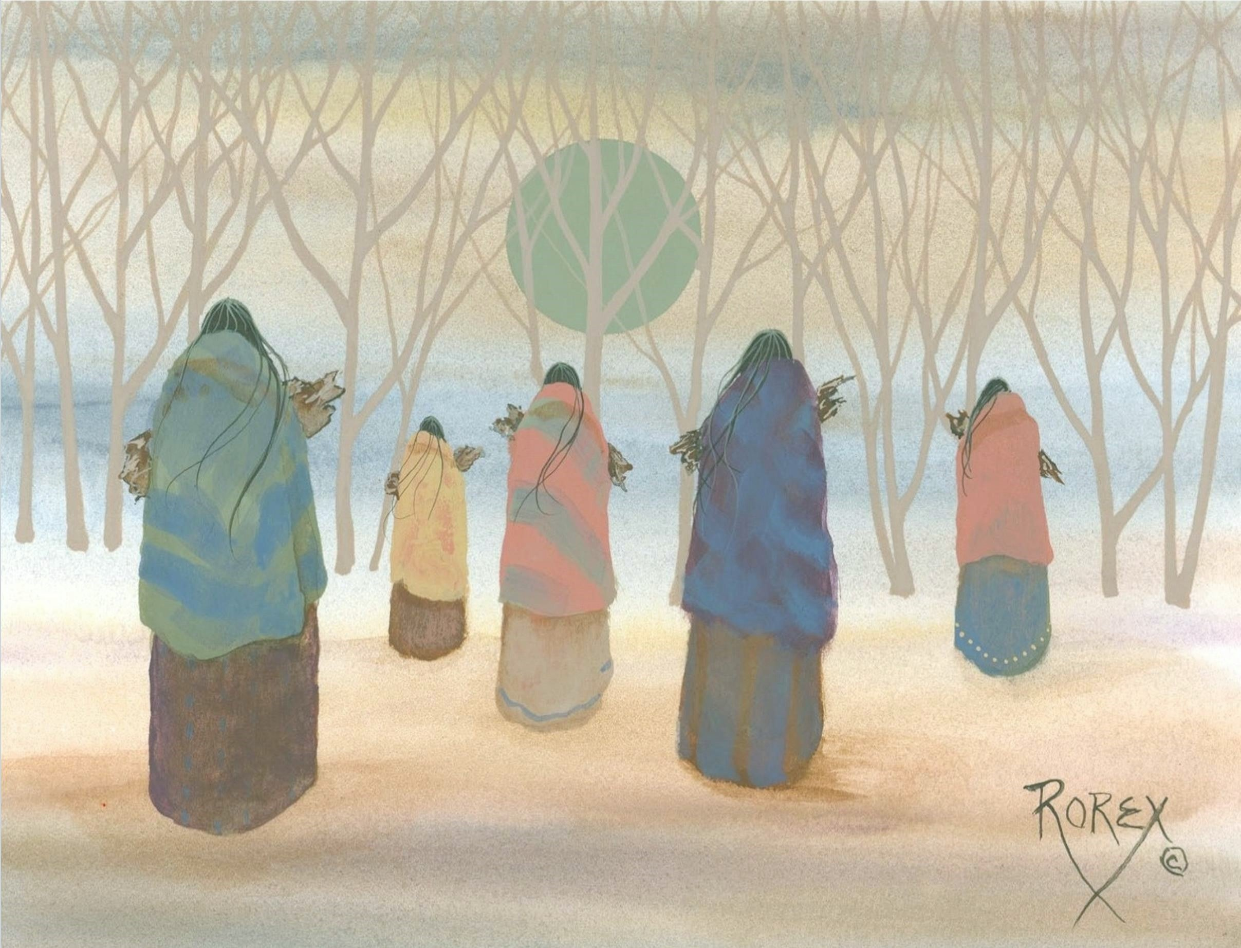 FIVE WOMEN CARRYING WOOD
