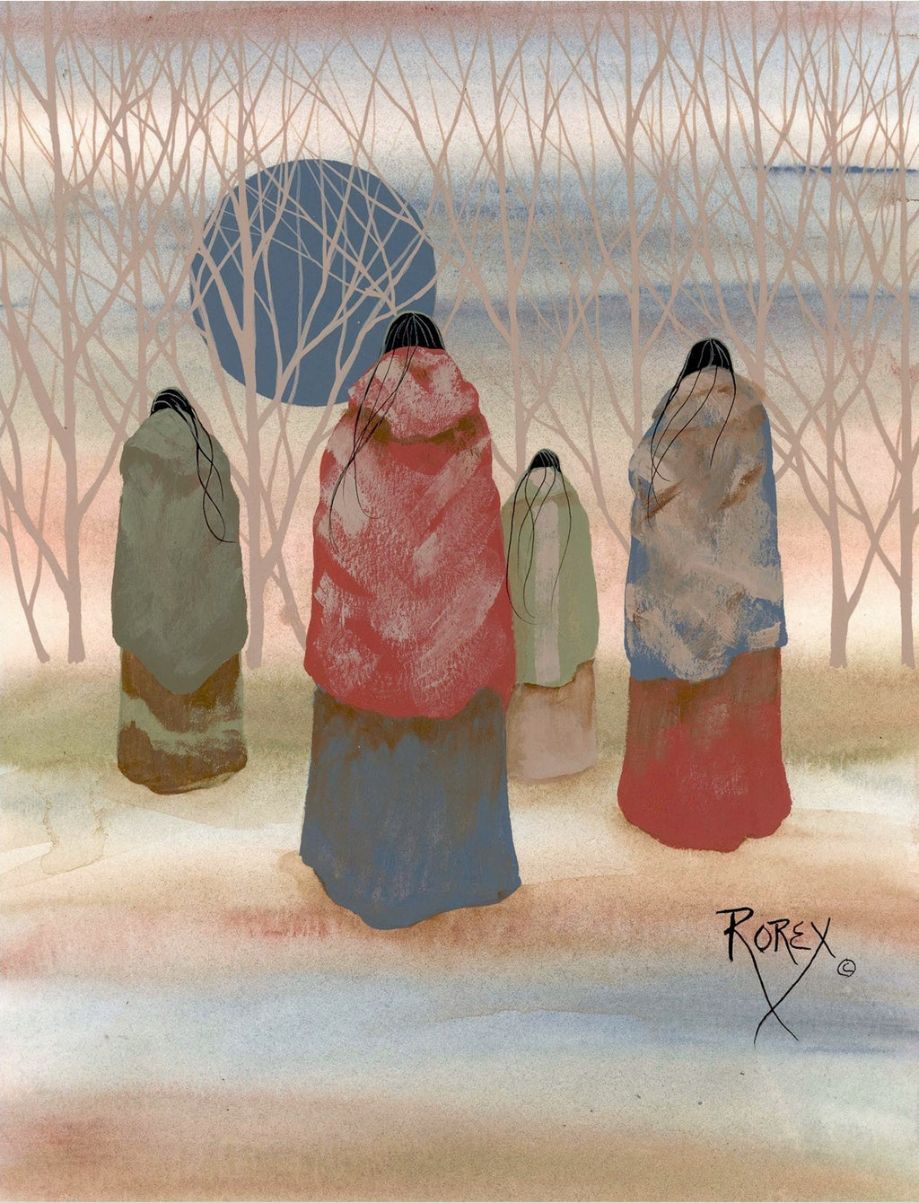 FOUR INDIAN WOMEN WALKING TOWARD WOODS