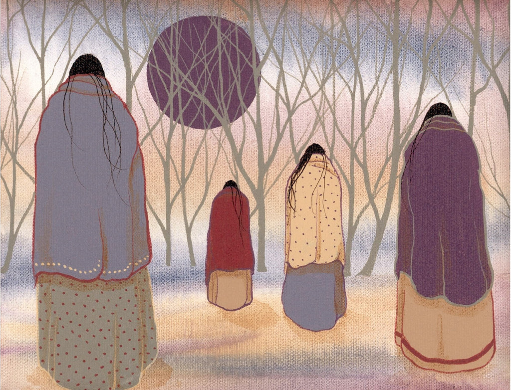 4 WOMEN WALKING TOWARD WOODS