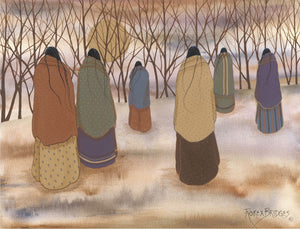 WARM EARTHY COLORS WITH 6 FIGURES WALKING TOWARD THE WOODS