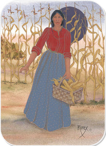 WOMAN WITH BASKET OF CORN