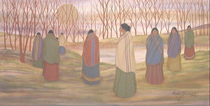 8 Women walking alongside the water