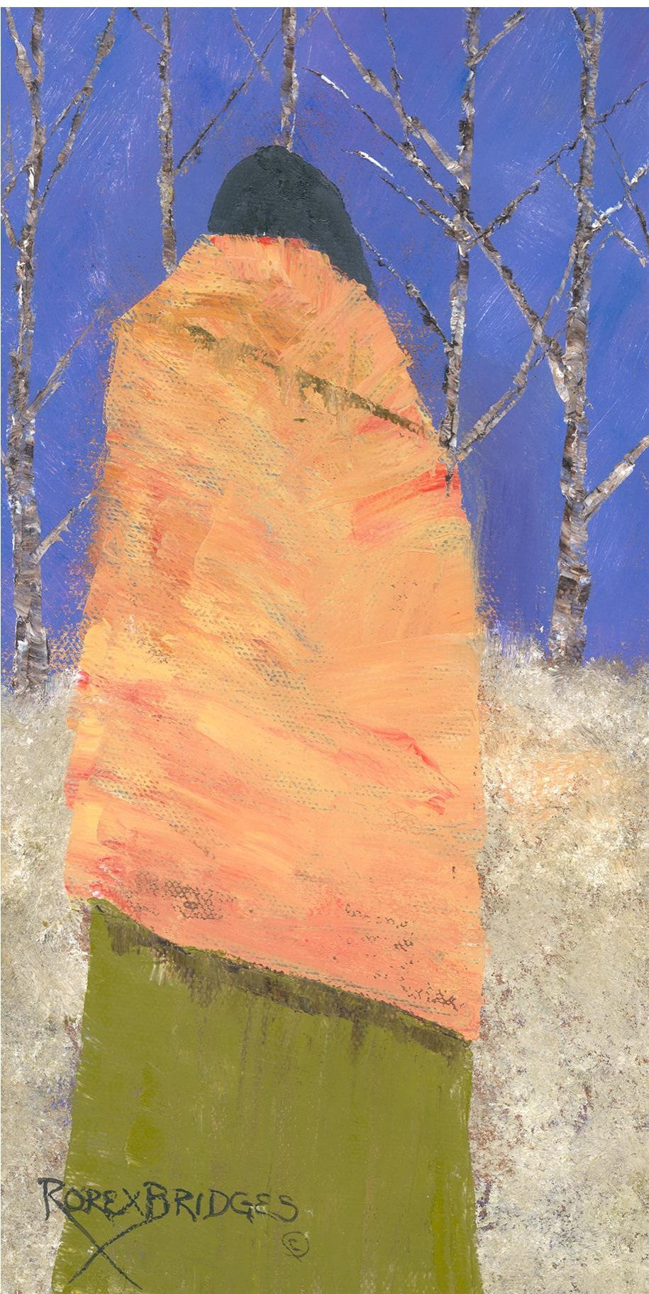 BIRCH TREES BEHIND WOMAN WITH YELLOW BLANKET