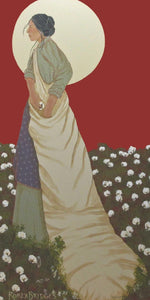 red sky, moon, cotton fields create the setting woman with her apron and cotton sack.