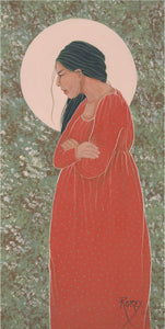 WOMAN IN RED FOLDED ARMS