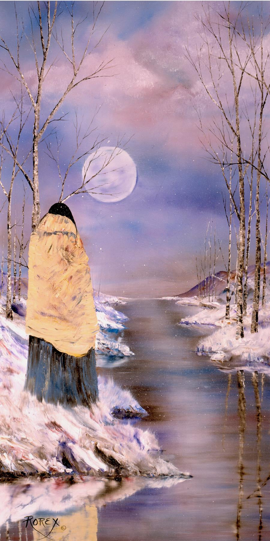 WOMAN LOOKING INTO THE MOON
