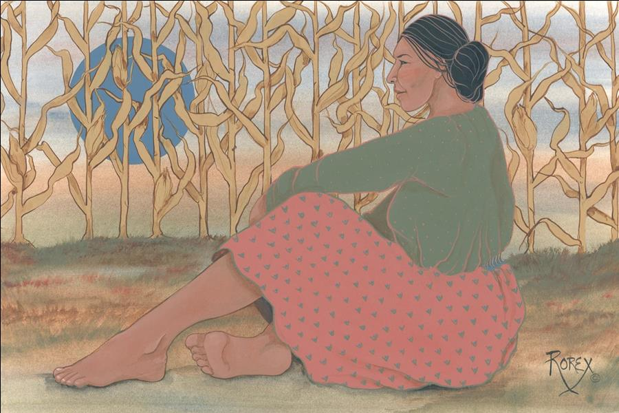 CORNFIELD WITH RESTING WOMAN