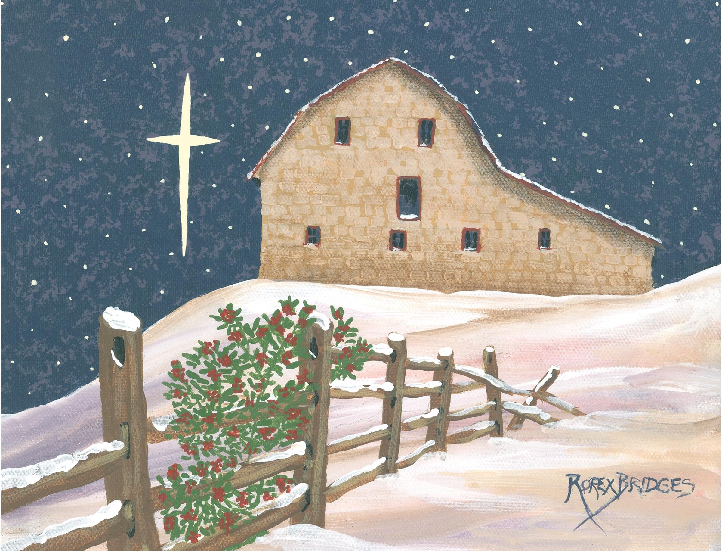 CHRISTMAS BARN ART TILE