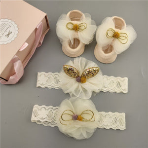 3Pcs Set Baby Girl Headband Socks Set