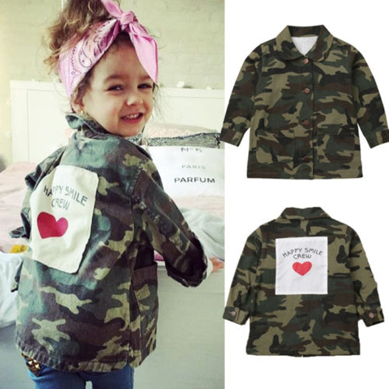 Camo Crew Jacket- Girls boys