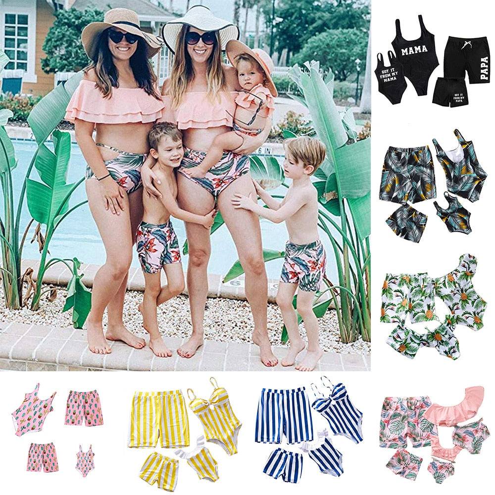 Mama/Papa; Pink Cactus; Black Feather-Family Swimwear