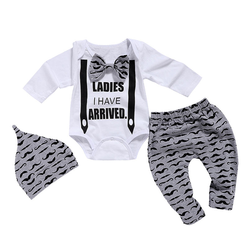 Baby Boys 3Pcs Set- Moustache/ Elephant