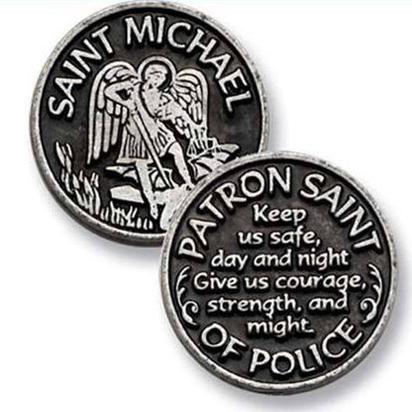 St. Michael Pocket Coin Token Police Pewter