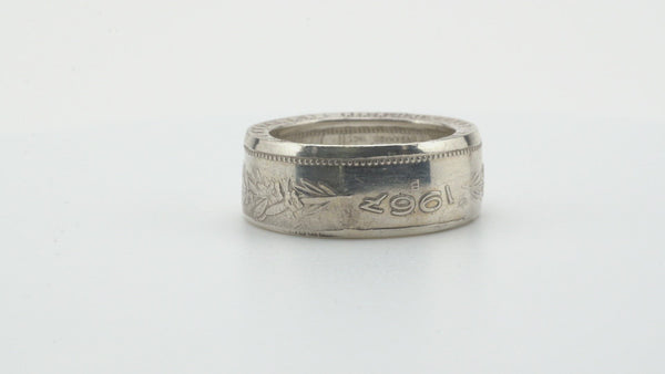 Swiss Franc Silver Coin Ring Polished