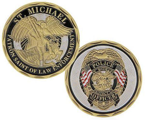 St Michaels Police Deluxe Bronze Coin Honor and Protect